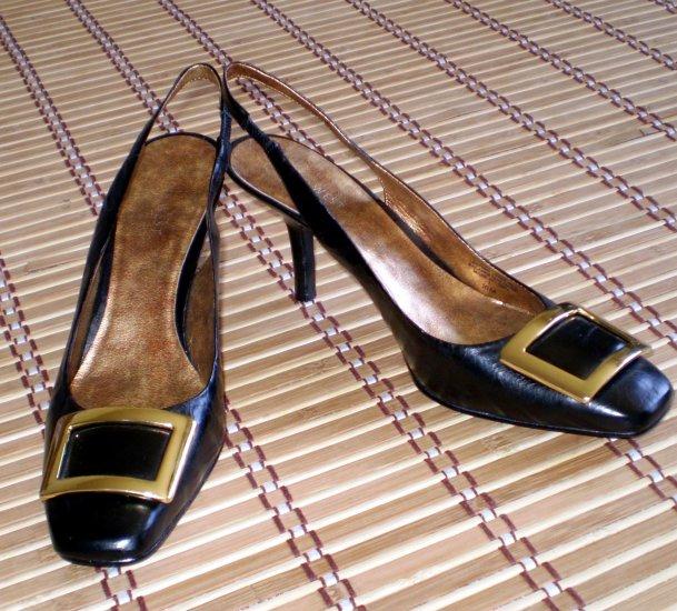 Nine West Black Leather Sling Back Heels Nw 10