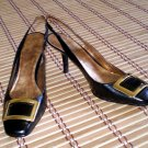 Nine West Black Leather Sling Back Heels Nw 10