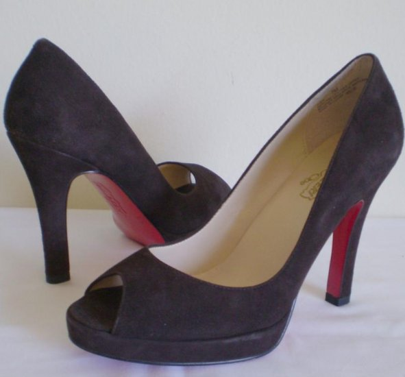 Oh Deer Judy Brown Suede Leather Peep Toe Heels Pump 10