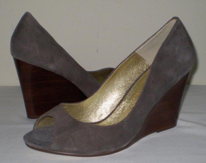 Nine West Suede Leather Peep Toe Wedge Heels 11