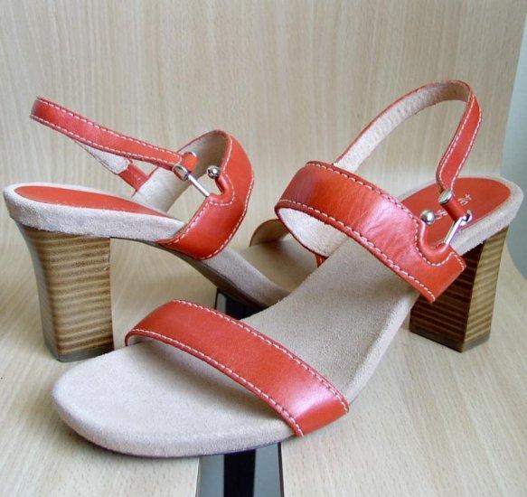 Aerosoles HowdySkies Orange Leather Sandals Heels sz 12