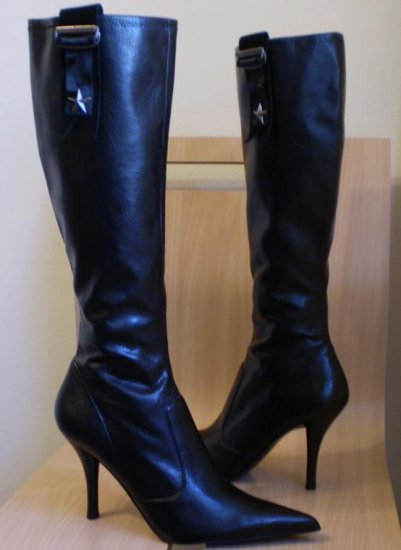 Nine West Brittena Black tall boots heels shoes sz 10