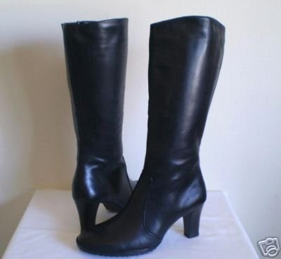Naturalizer Blk Leather Knee High Tall Boots Heels 9.5