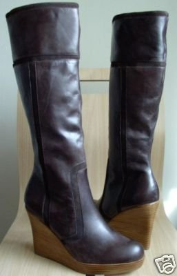 Steve Madden Mavie wedge Boots Tall Brown Leather 10