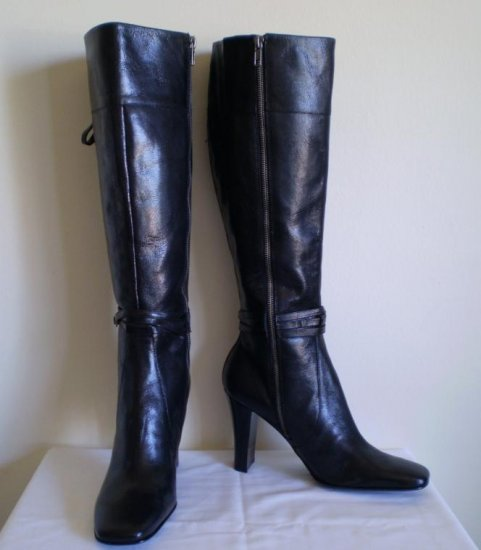 Nine West Pietra Black Leather tall boots heels 10