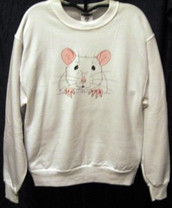White Rat Face Sweatshirt - Size XL