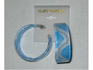 Silvery Stripe Hoop Earrings - Blue