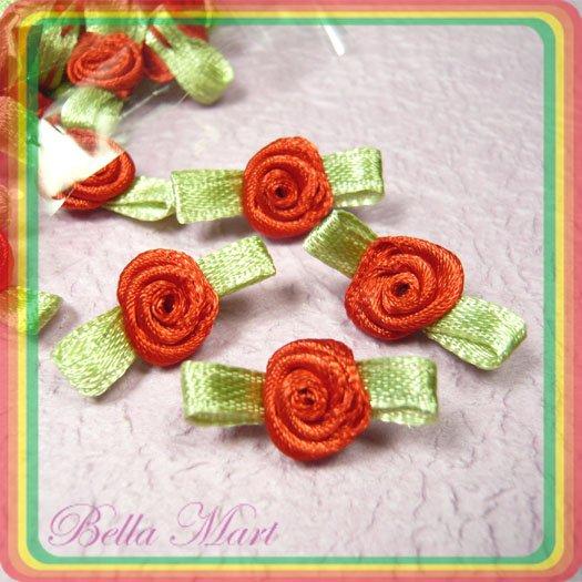 100 Red Satin Ribbon Rose Flower Applique/Craft/Sew/Wedding F001