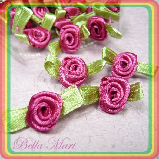 100 Burgundy Satin Ribbon Rose Flower Applique/Craft/Wedding F03