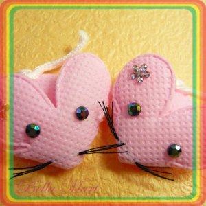 20 Cute Mice Applique w Flower Rhinestone Baby/Embellishment A026