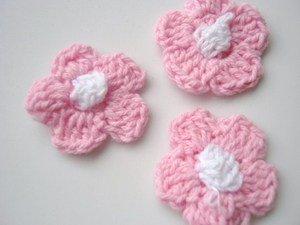 25 pcs Crochet Pink Daisy Flower