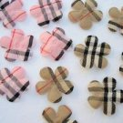 30 pcs Classic Plaid Check Flower Applique