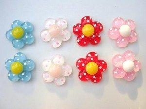 20pc Glass Flower Polka Dot Resin Button