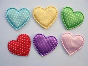 60 Satin Polka Dots Heart Applique