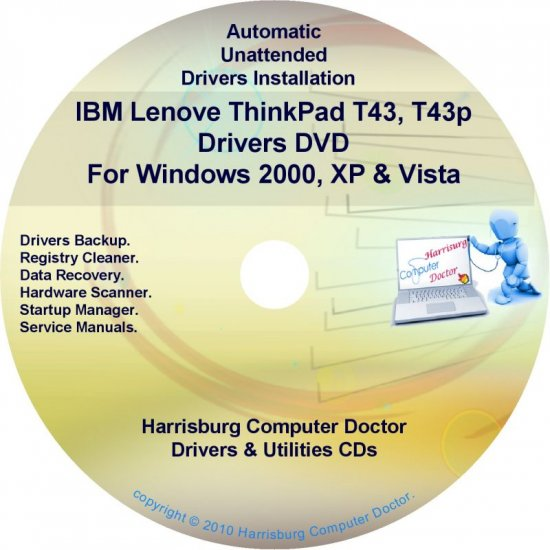 IBM Lenovo ThinkPad T43 Drivers Recovery Disc CD/DVD