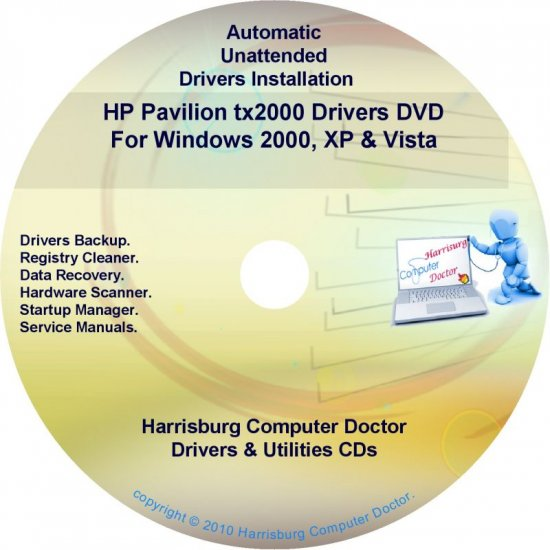 HP Pavilion tx2000 Driver Recovery Disc CD/DVD