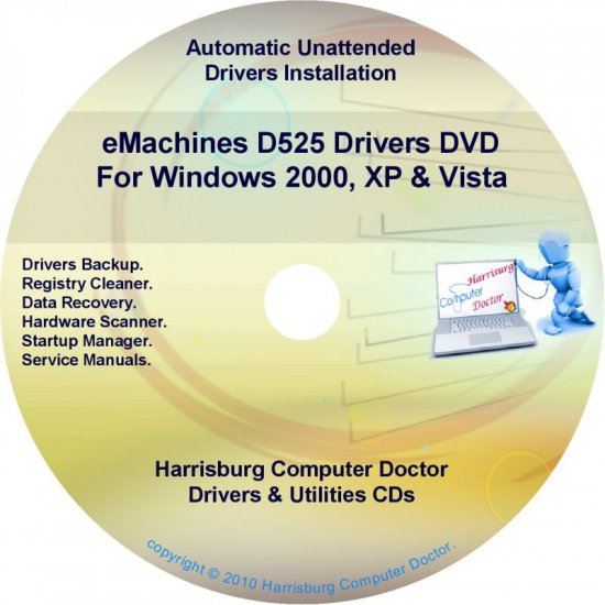 eMachines D525 Drivers Restore Recovery CD/DVD
