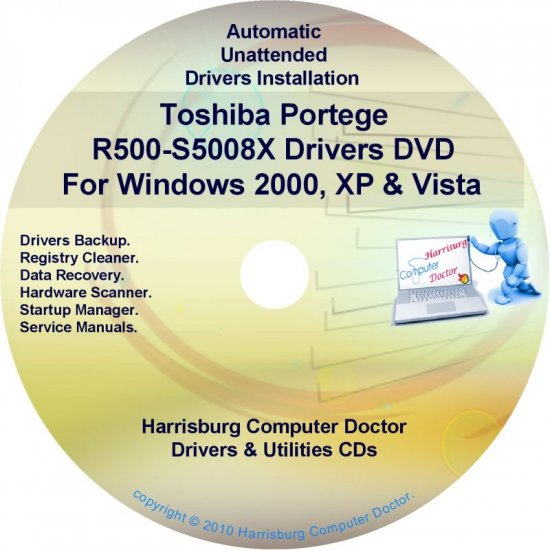 Toshiba Portege R500-S5008X Drivers Recovery CD/DVD