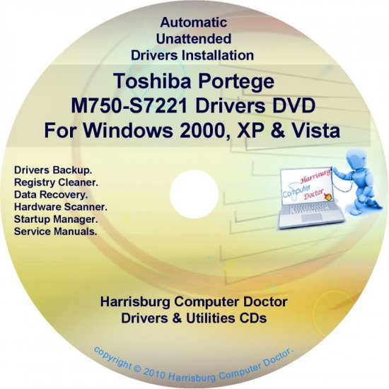 Toshiba Portege M750-S7221 Drivers Recovery CD/DVD