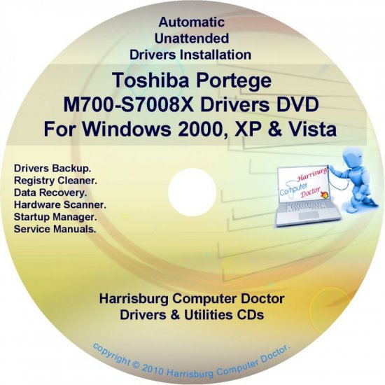 Toshiba Portege M700-S7008X Drivers Recovery CD/DVD