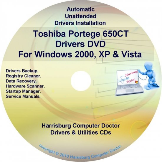 Toshiba Portege 650CT Drivers Recovery CD/DVD