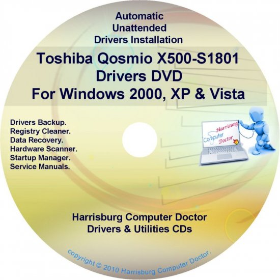Toshiba Qosmio X500-S1801 Drivers Recovery CD/DVD