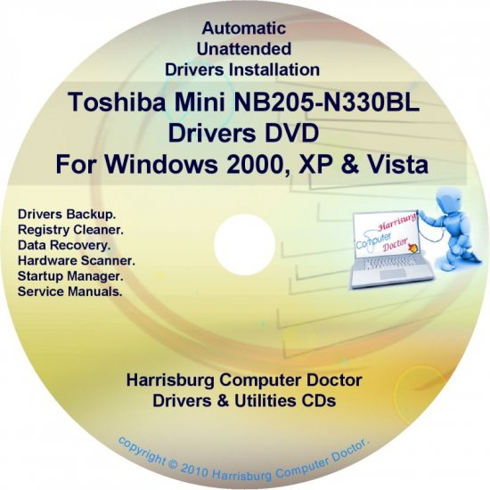Toshiba Mini NB205-N330BL Drivers Recovery CD/DVD