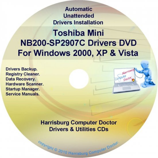 Toshiba Mini NB200-SP2907C Drivers Recovery CD/DVD