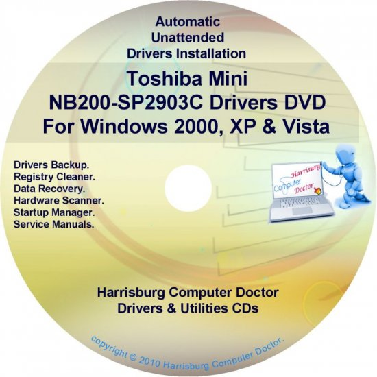 Toshiba Mini NB200-SP2903C Drivers Recovery CD/DVD