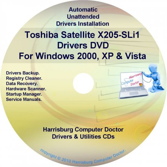 Toshiba Satellite X205-SLi1 Drivers Recovery CD/DVD