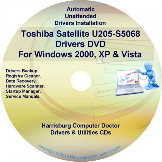 Toshiba Satellite U205-S5068 Drivers Recovery CD/DVD