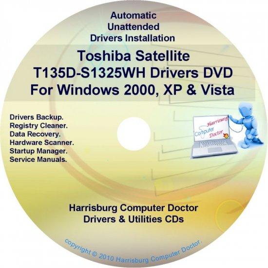 Toshiba Satellite T135D-S1325WH Drivers CD/DVD