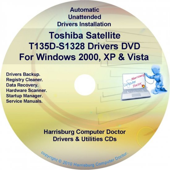 Toshiba Satellite T135D-S1328 Drivers Recovery CD/DVD