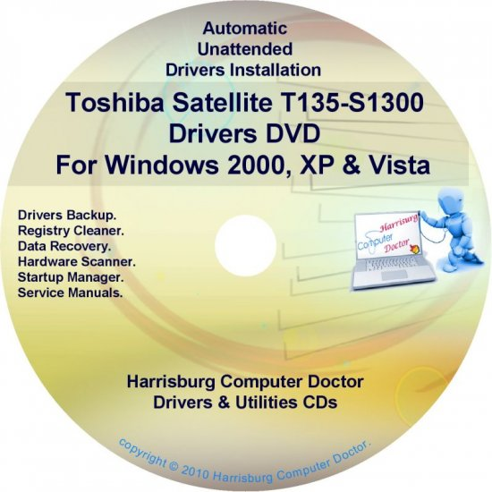 Toshiba Satellite T135-S1300 Drivers Recovery CD/DVD