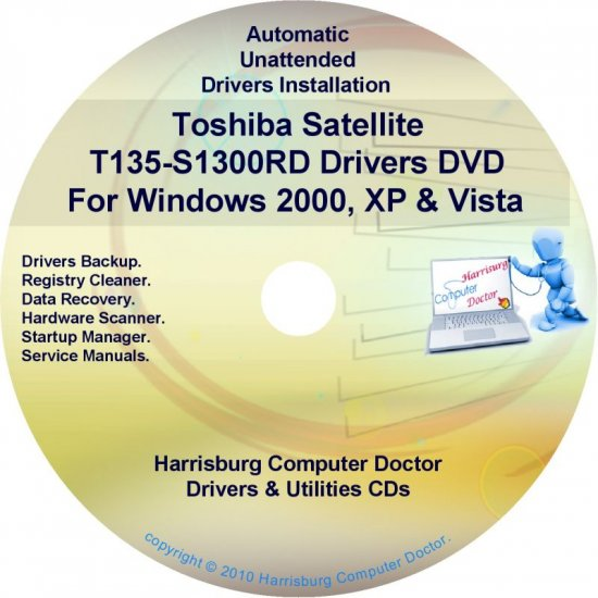 Toshiba Satellite T135-S1300RD Drivers CD/DVD