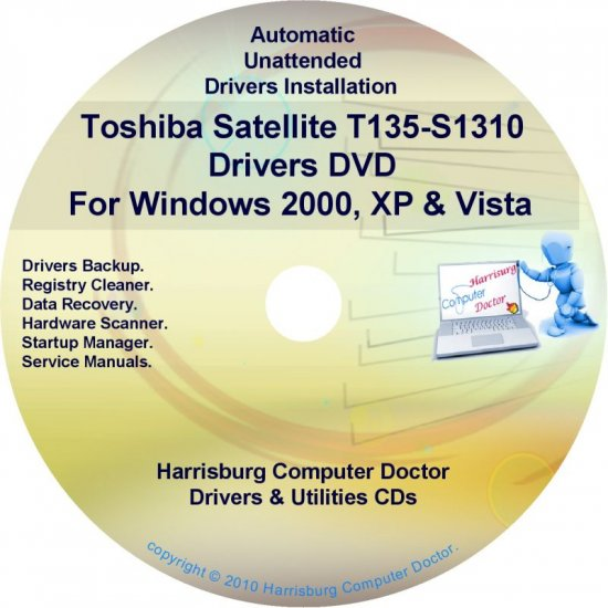 Toshiba Satellite T135-S1310 Drivers Recovery CD/DVD