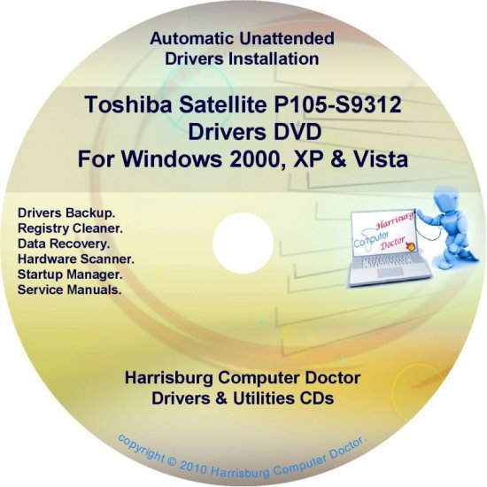 Toshiba Satellite P105-S9312 Drivers Recovery CD/DVD