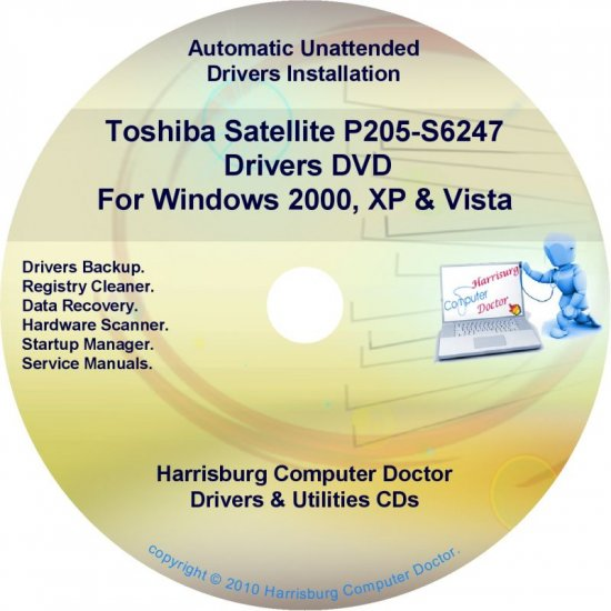 Toshiba Satellite P205-S6247 Drivers Recovery CD/DVD