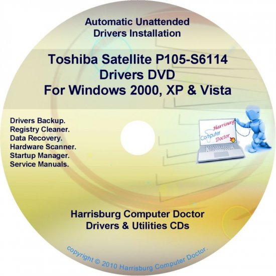Toshiba Satellite P105-S6114 Drivers Recovery CD/DVD