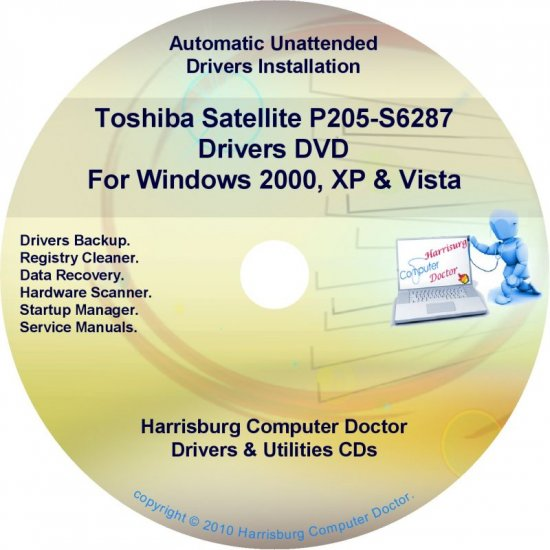 Toshiba Satellite P205-S6287 Drivers Recovery CD/DVD