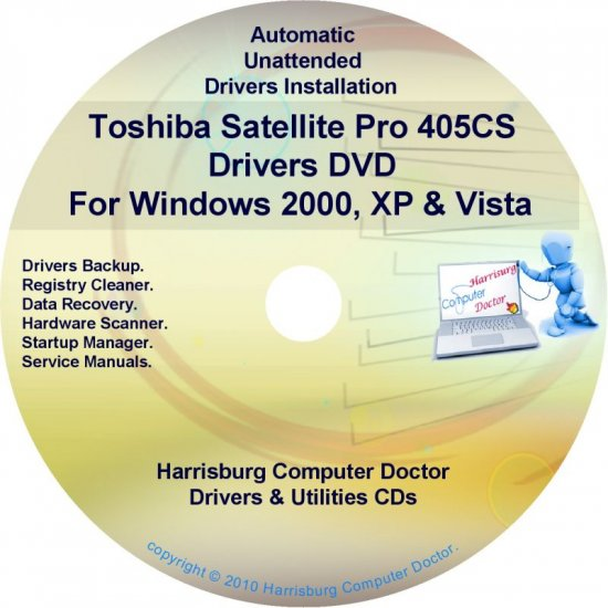 Toshiba Satellite Pro 405CS Drivers Recovery CD/DVD