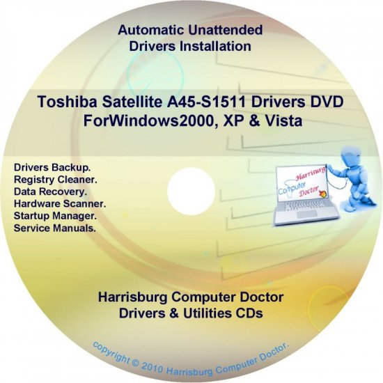 Toshiba Satellite  A45-S1511 Drivers Recovery CD/DVD
