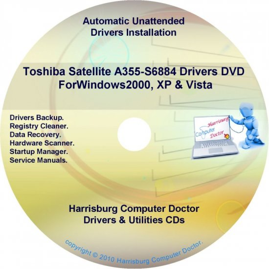 Toshiba Satellite  A355-S6884 Drivers Recovery CD/DVD