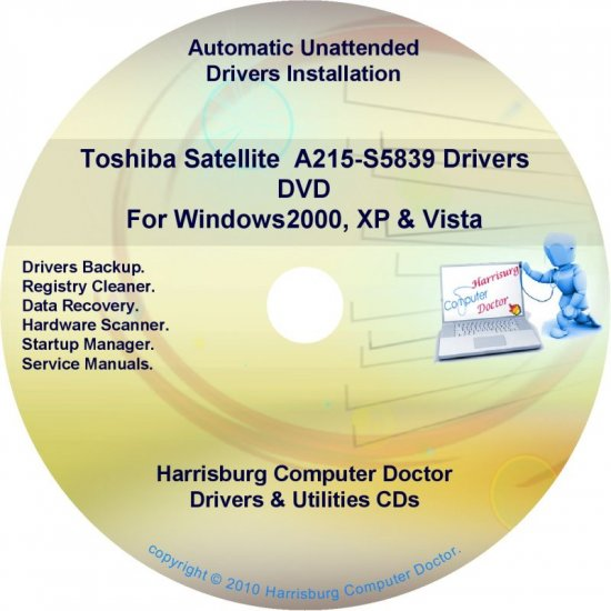 Toshiba Satellite  A215-S5839 Drivers Recovery CD/DVD