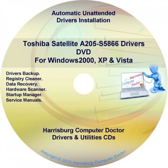 Toshiba Satellite  A205-S5866 Drivers Recovery CD/DVD