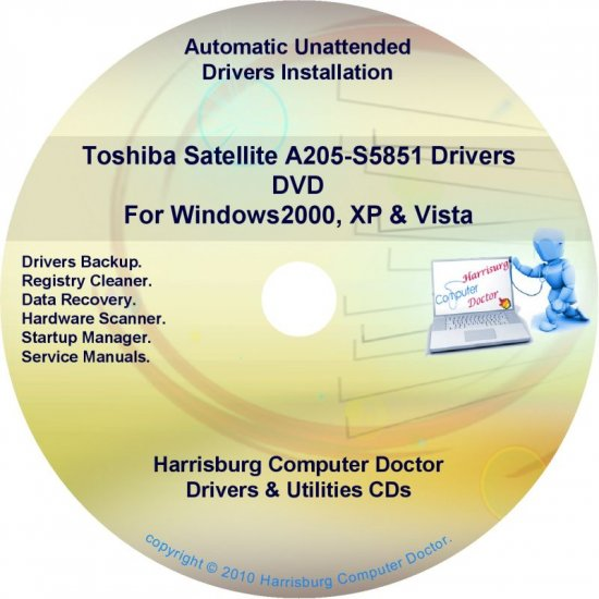 Toshiba Satellite  A205-S5851 Drivers Recovery CD/DVD