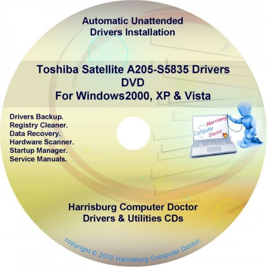 Toshiba Satellite  A205-S5835 Drivers Recovery CD/DVD