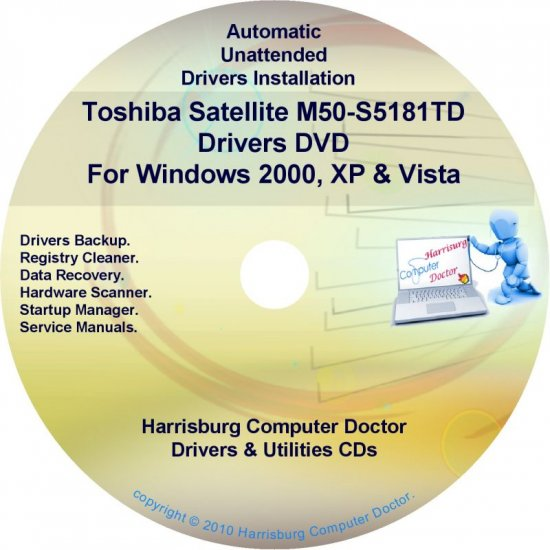 Toshiba Satellite M50-S5181TD Drivers Recovery CD/DVD