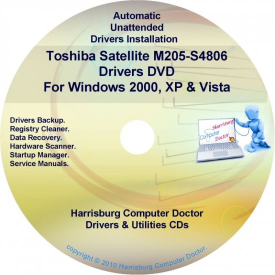 Toshiba Satellite M205-S4806 Drivers Recovery CD/DVD