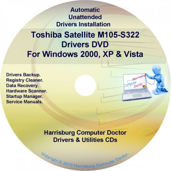 Toshiba Satellite M105-S322 Drivers Recovery CD/DVD